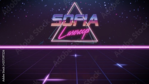 Fotografie, Obraz  first name Sofia in synthwave style