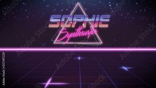 first name Sophie in synthwave style Canvas Print