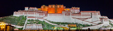 Panorama Of Potala Palace At Night (Tibet). The History Of The Palace Reaches Back To 1645. Back Then The 5th Dalai Lama Started The Construction.