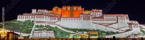 Panorama of Potala Palace at night (Tibet) Fototapete