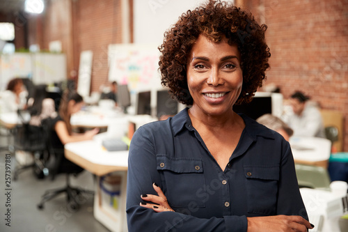 Fotomural Portrait Of Mature Businesswoman In Open Plan Office With Business Team Working