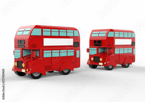 Fashion london doubledecker red bus. 3d render фототапет