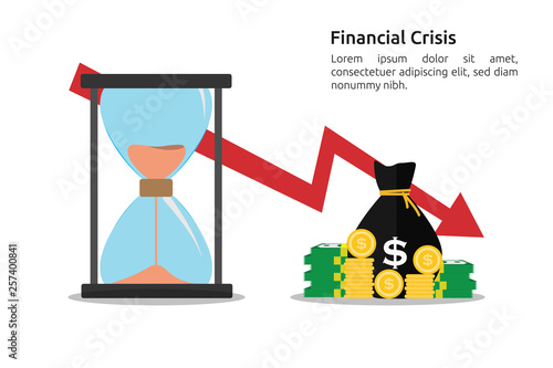 Photo  Financial crisis concept with red arrow decrease or drop down
