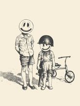 Two Boys With Emoticons Instead Of Faces. Angry Little Bikers With Retro Tricycle. Vector Illustration.
