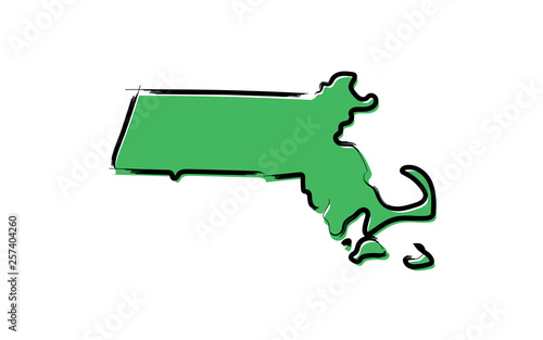 Cuadros en Lienzo Stylized green sketch map of Massachusetts
