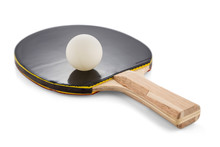 Ping Pong Paddle And Ball Isolated On White Background With Shadows. Selective Sharpness.