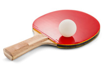 Ping Pong Paddle And Ball Isol...