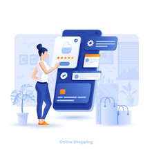 Flat Color Modern Illustration Design - Online Shopping
