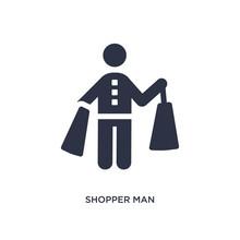 Shopper Man Icon On White Back...