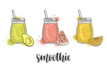 Set Of Smoothie Jars With Avoc...