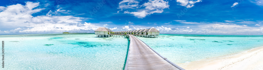 Fototapety, obrazy: Panoramic landscape of Maldives beach. Tropical panorama, luxury water villa resort with wooden pier or jetty. Luxury travel destination background for summer holiday and vacation concept.