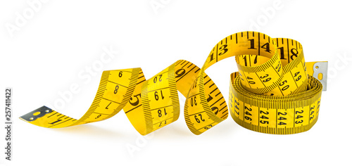 yellow isolated metric measuring tape on white background Fototapete