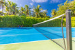 canvas print picture - Amazing sport and recreational background as tennis court on tropical landscape, palm trees and blue sky. Sports in tropic concept