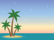 Small tropical island in the sea at sunset- Vector illustration background template