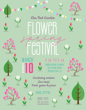 Flower Spring Festival Poster Template With Blossoming Trees, Flowers And Colorful Flags.