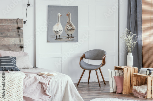 Marvelous Delightful Bedroom Interior With Stylish Grey Chair Wooden Pabps2019 Chair Design Images Pabps2019Com