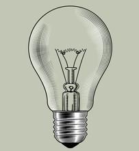 Glass Light Bulb In Retro Style