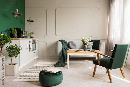 Fotografía  Open book on dark green velvet pouf in grey living room and kitchen interior wit