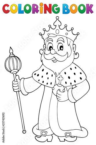 Deurstickers Voor kinderen Coloring book king topic 1