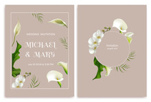 Wedding Invitation. Flowers. Floral Background.  White Orchids. Callas. Tropical Flowers. Green Leaves.
