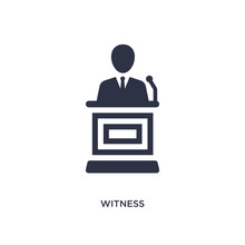 Witness Icon On White Background. Simple Element Illustration From Law And Justice Concept.