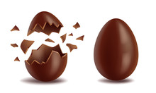 Realistic Chocolate Eggs Set, Broker, Exploded And Whole, Sweet Tasty Eggshell, Easter Symbol, Vector Illustration Isolated On White