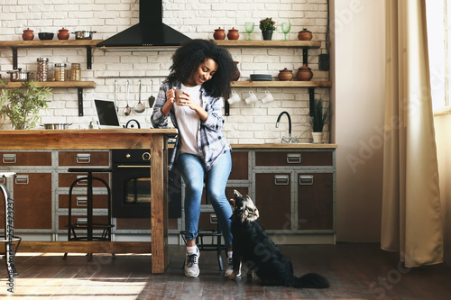 Fototapeta African-American woman with cute funny dog in kitchen obraz na płótnie