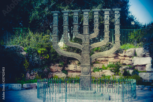The Symbol of the State of Israel The Golden Menorah Tablou Canvas