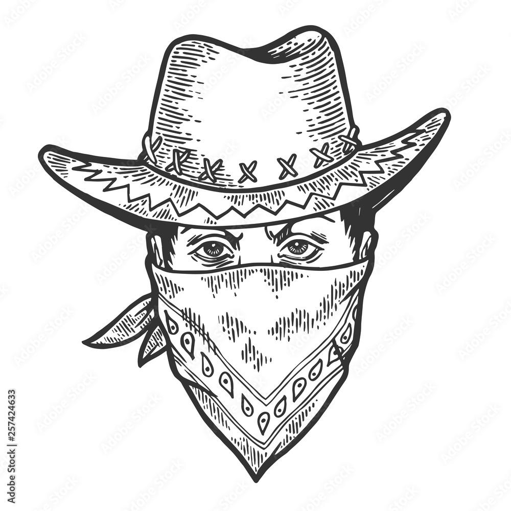 Fototapeta Cowboy head in bandit gangster mask bandana sketch engraving vector illustration. Scratch board style imitation. Hand drawn image.