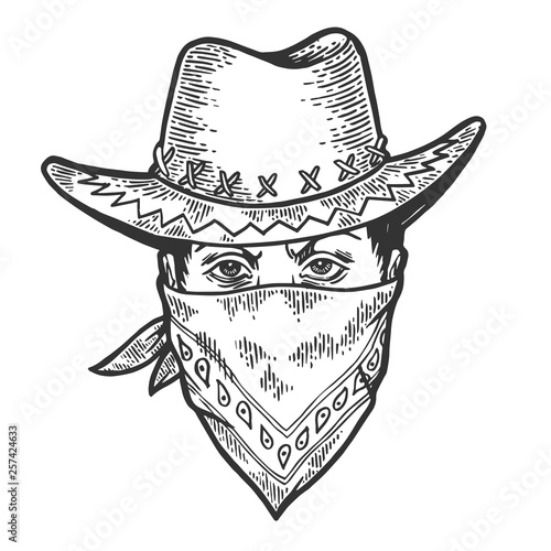 Cowboy head in bandit gangster mask bandana sketch engraving vector illustration Canvas Print
