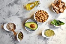 Avocado Hummus, Recipe Ingredients. Dish Based On Chickpeas And Avocado.