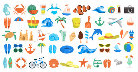 Beach set. Collection of summer vacation stuff