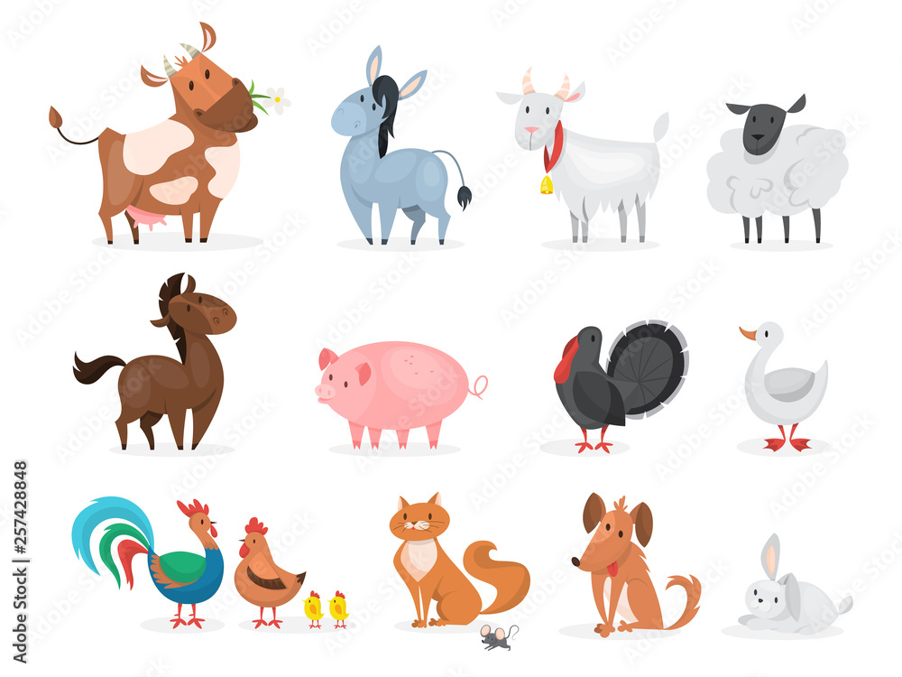 Fototapeta Cute farm animals set. Goat, cow, ship