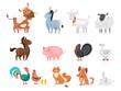 Cute farm animals set. Goat, cow, ship