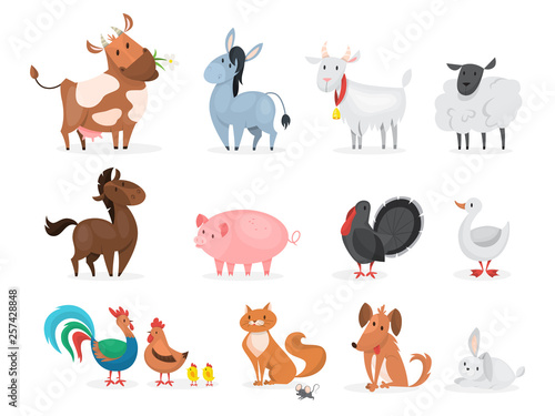 Cute farm animals set. Goat, cow, ship