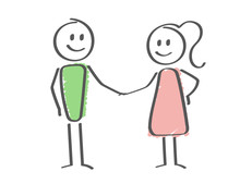 Stick Figure - People Shaking Hands - Contract