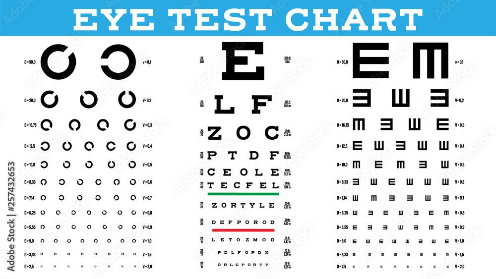 Fotografía  Eye Test Chart Set Vector