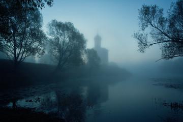 Church of Intercession upon Nerl River. (Bogolubovo, Vladimir region, Golden Ring of Russia) in autumn fog