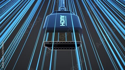 Fotografía  HDMI connector with information rays on dark background.