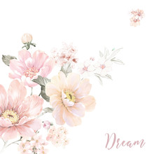 Watercolor Flowers Set,It's Perfect For Greeting Cards,wedding Invitation, Wedding Design,birthday And Mothers Day Cards,Watercolor Botanical Illustration Isolated On White Background