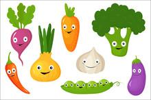 Vegetables Set, Healthy Vegetarian Food Vector Illustrations On A White Background
