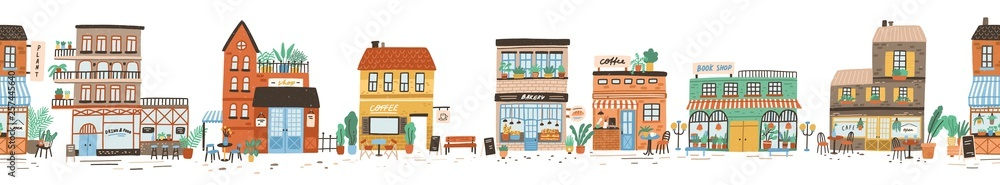 Fototapeta Urban landscape or view of European city street with stores, shops, sidewalk cafe, restaurant, bakery, coffee house. Seamless banner with building facades. Flat vector illustration in cute style.