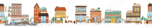 Urban landscape or view of European city street with stores, shops, sidewalk cafe, restaurant, bakery, coffee house. Seamless banner with building facades. Flat vector illustration in cute style.