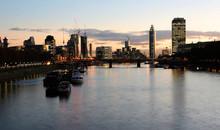 London Cityscape, Vauxhall Bridge And St George Wharf Tower Present
