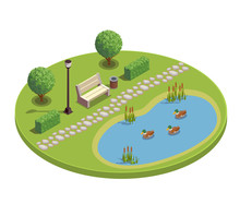 City Park Isometric Round Composition