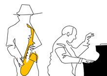 Pianist And Saxophonist. Black Contour, Yellow Color. Musical Jazz Illustration. Two Musicians, Instruments Saxophone And Piano. Vector.