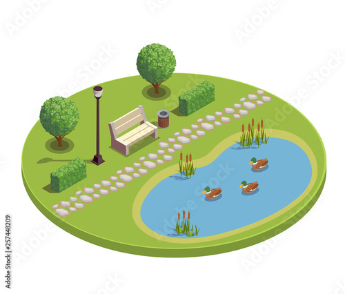City Park Isometric Round Composition Slika na platnu