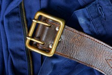 Old Brown Leather Belt With Br...