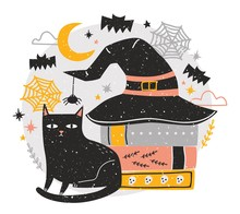 Decorative Halloween Composition With Cute Black Cat Sitting Beside Stack Of Antique Books Covered By Witch Hat Against Night Sky, Spiders And Flying Bats On Background. Holiday Vector Illustration.