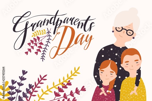 Fototapeta Grandparents Day greeting card template with cute grandmother and grandchildren